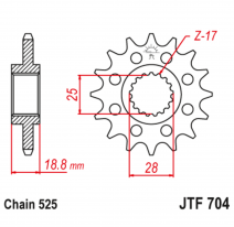 704.16RB, Звезда ведущая , с демпфером, JT 704.16RB