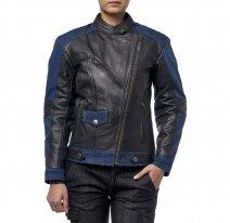 M08518 (черный/синий, XXS), Куртка женская Teacher Jeans, кожа-джинса