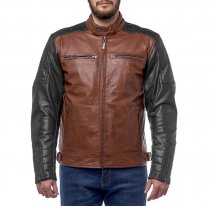 M08520 (Коричневый/черный, S), Куртка кожаная  MOTEQ Bravo 7, мужской(ие), размер S, цвет коричневый