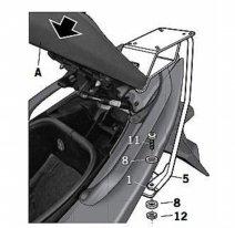 Y0TM59ST, Крепление кофра SHAD Yamaha Tmax (08-11), задний
