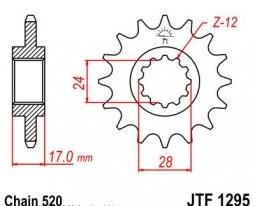 1295.15, Звезда передняя (ведущая) jtf1295 для мотоцикла, стальная