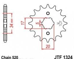 1324.13, Звезда передняя (ведущая) jtf1324 для мотоцикла, стальная