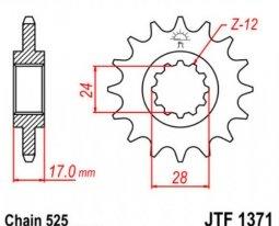 1371.14, Звезда передняя (ведущая) JTF1371 для мотоцикла, стальная