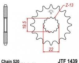 1439.14, Звезда передняя (ведущая) JTF1439 для мотоцикла, стальная