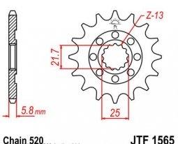 1565.12, Звезда передняя (ведущая) JTF1565 для мотоцикла, стальная
