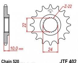 402.14, Звезда передняя (ведущая) JTF402 для мотоцикла, стальная