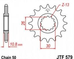 579.14, Звезда передняя (ведущая) JTF579 для мотоцикла, стальная