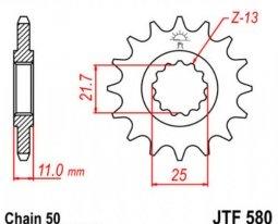 580.16, Звезда передняя (ведущая) JTF580 для мотоцикла, стальная