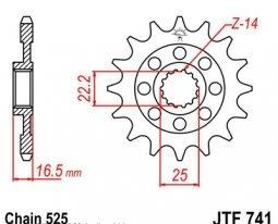 741.15, Звезда передняя (ведущая) JTF741 для мотоцикла, стальная