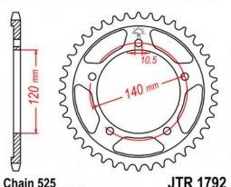 1792.41, Звезда задняя (ведомая) jtr1792 для мотоцикла стальная
