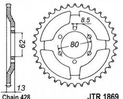 1869.45, Звезда задняя (ведомая) jtr1869 для мотоцикла стальная