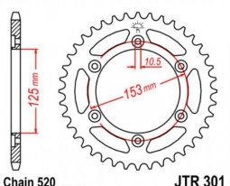 301.40, Звезда задняя (ведомая) jtr301 для мотоцикла стальная