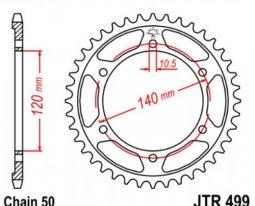499.38, Звезда задняя (ведомая) jtr499 для мотоцикла стальная