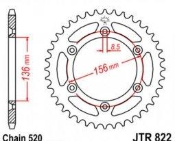 822.42, Звезда задняя (ведомая) JTR822 для мотоцикла стальная