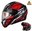 MODE1Tornado (стекло с электроподогревом, Термопластик, мат., Красный/Чёрный, L), Снегоходный шлем модуляр с электростеклом MODE1 Tornado красный матовый