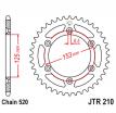 210.38, Звезда задняя (ведомая),(сталь) JT 210.38